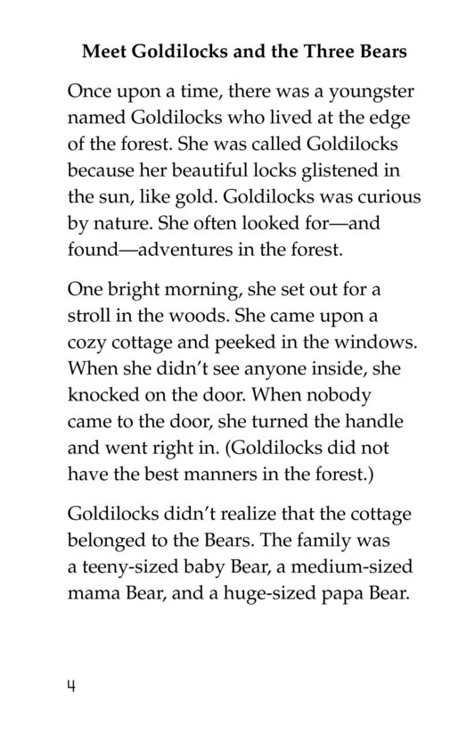 Book Preview For Goldilocks and the Other Three Bears Page 4