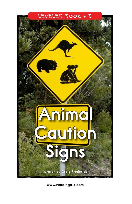 Book Preview For Animal Caution Signs Page 0