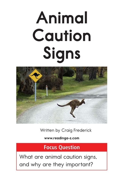 Book Preview For Animal Caution Signs Page 1