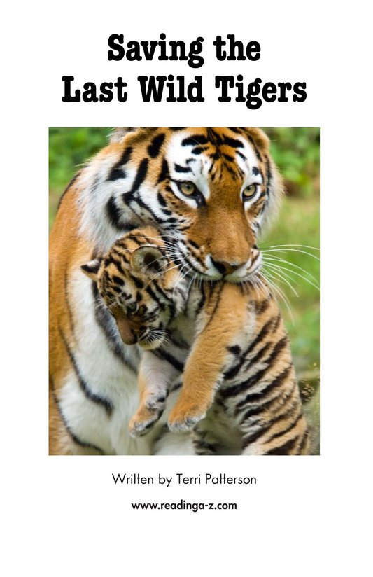 Book Preview For Saving the Last Wild Tigers Page 2