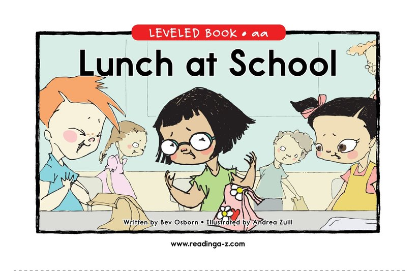 Book Preview For Lunch at School Page 0