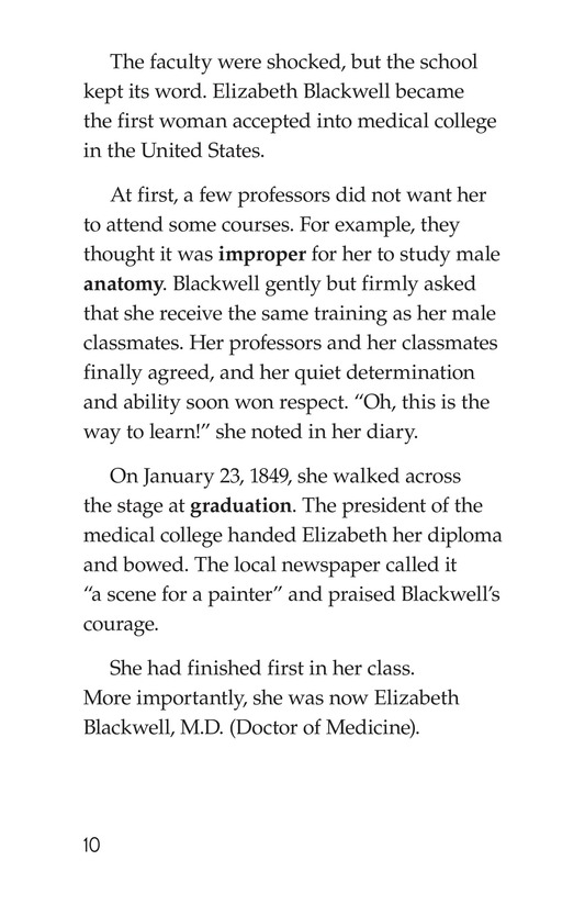 Book Preview For Elizabeth Blackwell: America's First Woman Doctor Page 10