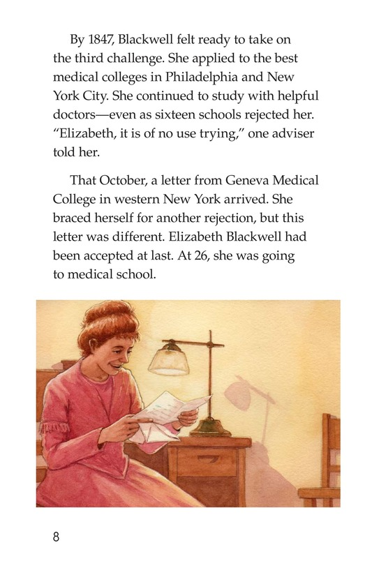 Book Preview For Elizabeth Blackwell: America's First Woman Doctor Page 8