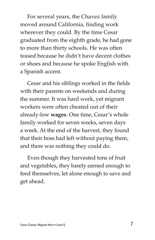 Book Preview For Cesar Chavez: Migrant Hero Page 7