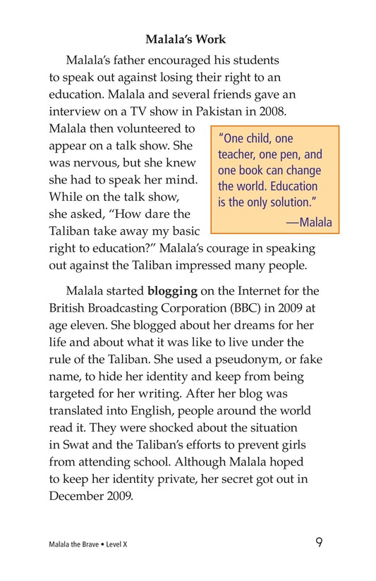 Book Preview For Malala the Brave Page 9