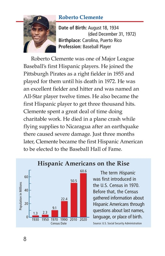 Book Preview For Famous Hispanic Americans: A Proud Heritage Page 8