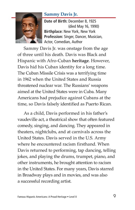 Book Preview For Famous Hispanic Americans: A Proud Heritage Page 9