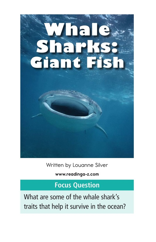 Book Preview For Whale Sharks: Giant Fish Page 1