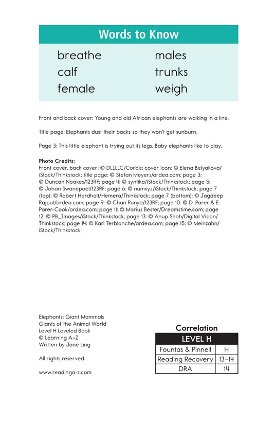 Book Preview For Elephants: Giant Mammals Page 2