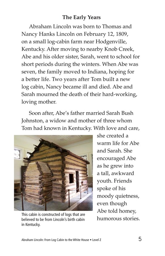 Book Preview For Abraham Lincoln: From Log Cabin to the White House Page 5