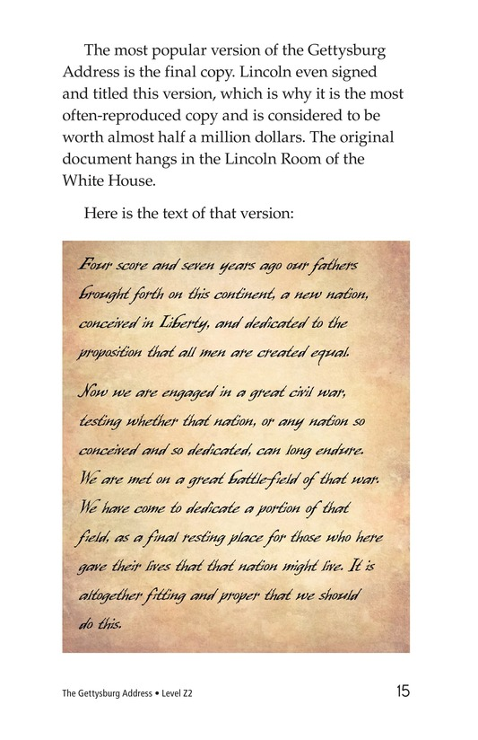 Book Preview For The Gettysburg Address Page 15