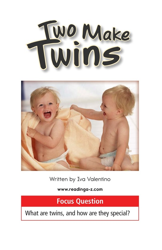 Book Preview For Two Make Twins Page 1