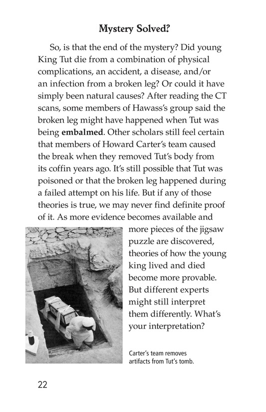 Book Preview For The Mystery of King Tut Page 22