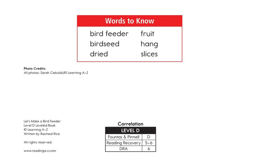 Book Preview For Let's Make a Bird Feeder Page 2