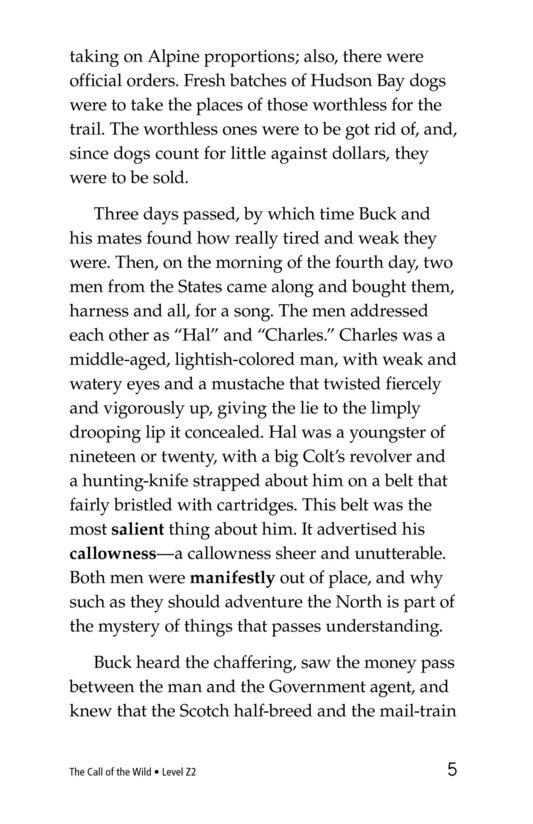 Book Preview For The Call of the Wild (Part 6) Page 5