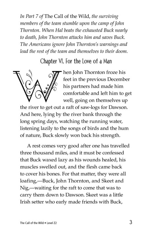 Book Preview For The Call of the Wild (Part 8) Page 3