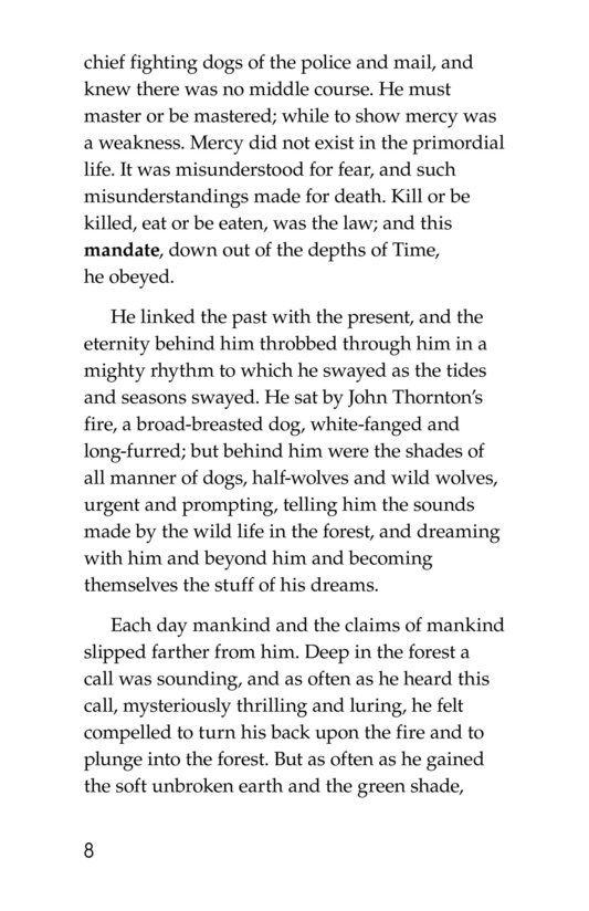 Book Preview For The Call of the Wild (Part 8) Page 8