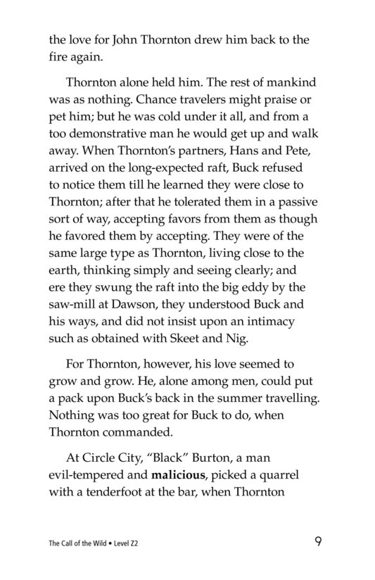 Book Preview For The Call of the Wild (Part 8) Page 9