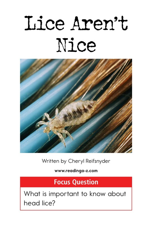 Book Preview For Lice Aren't Nice Page 1