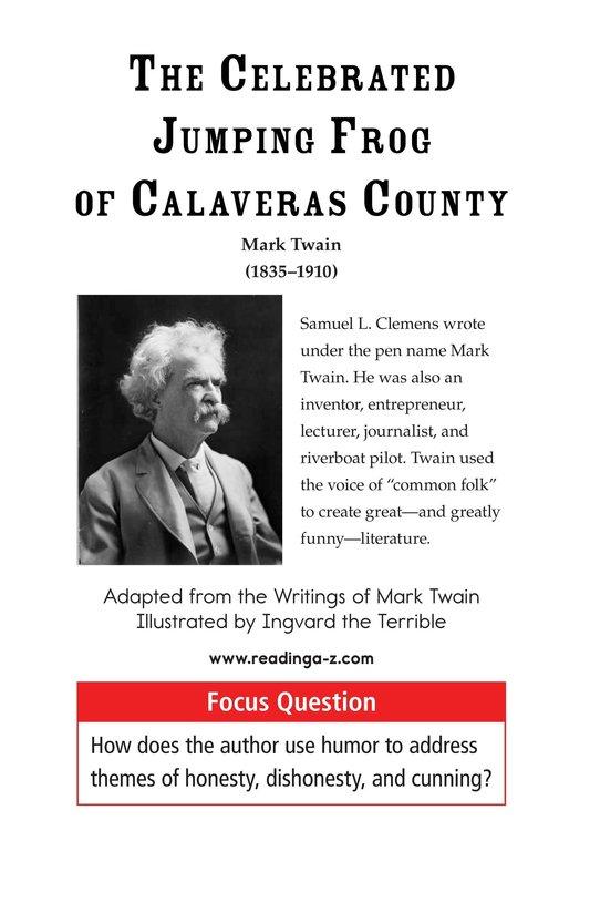 Book Preview For The Celebrated Jumping Frog of Calaveras County Page 1
