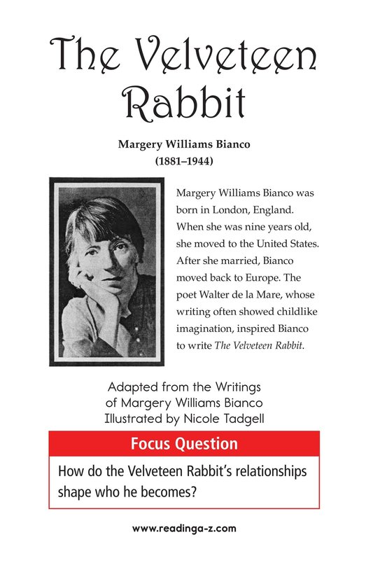 Book Preview For The Velveteen Rabbit Page 1