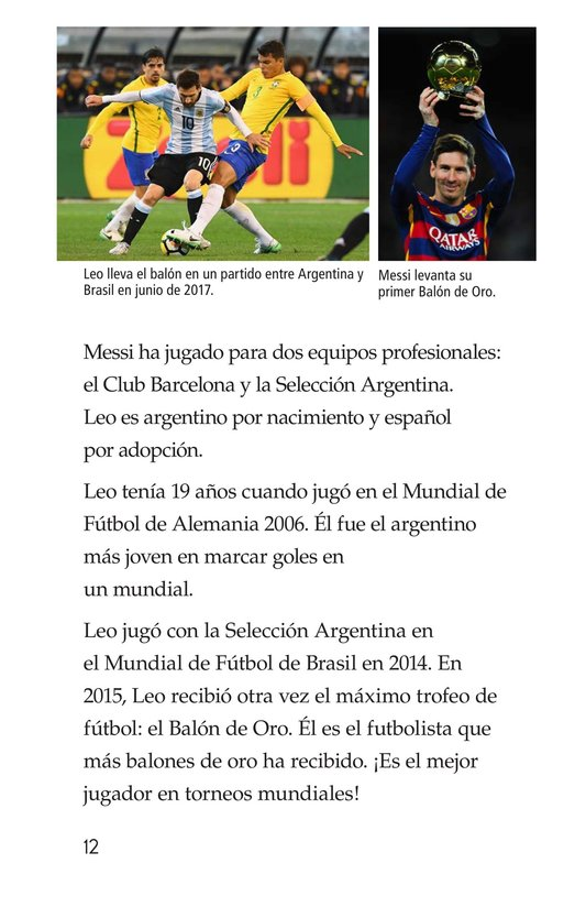 Book Preview For Lionel Messi, El astro argentino Page 12