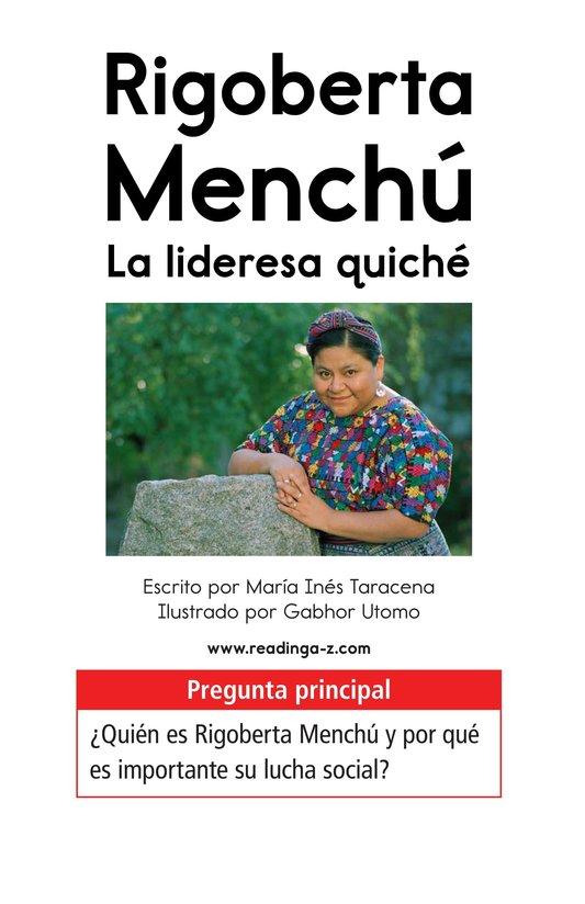 Book Preview For Rigoberta Menchú, La lideresa quiché Page 1
