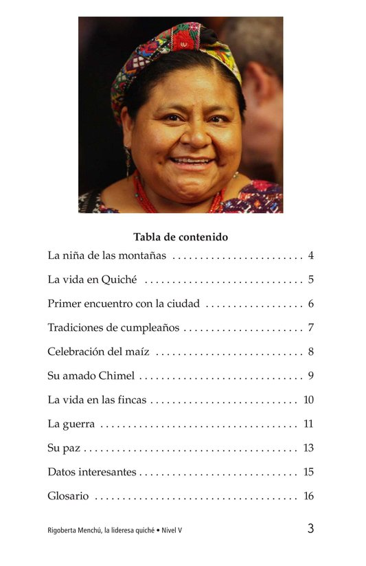 Book Preview For Rigoberta Menchú, La lideresa quiché Page 3