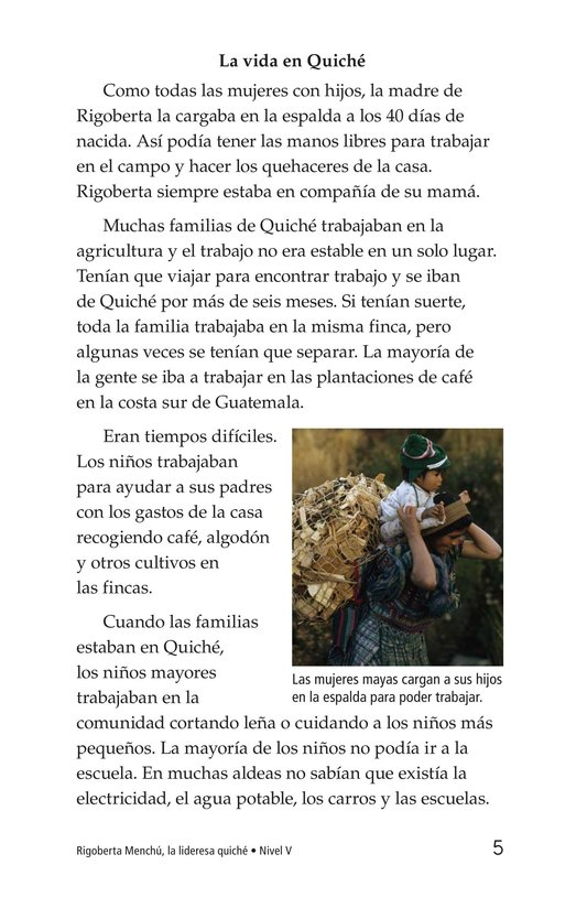 Book Preview For Rigoberta Menchú, La lideresa quiché Page 5