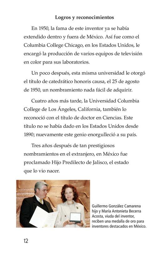 Book Preview For Guillermo González Camarena, un inventor que inspira Page 12