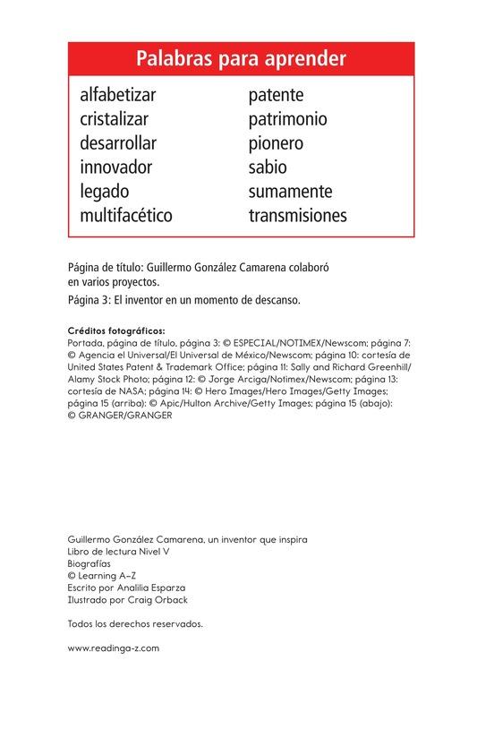 Book Preview For Guillermo González Camarena, un inventor que inspira Page 2