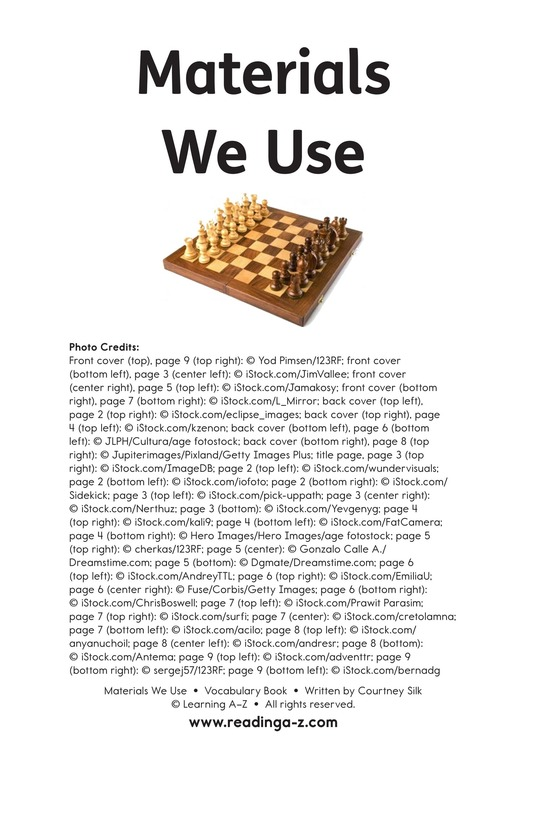 Book Preview For Materials We Use Page 11