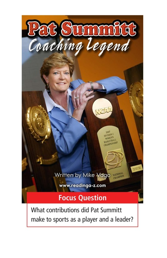 Book Preview For Pat Summitt: Coaching Legend Page 1