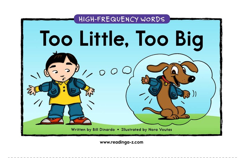 Book Preview For Too Little, Too Big Page 1