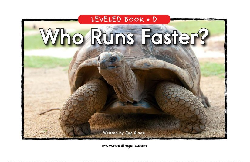 Book Preview For Who Runs Faster? Page 0