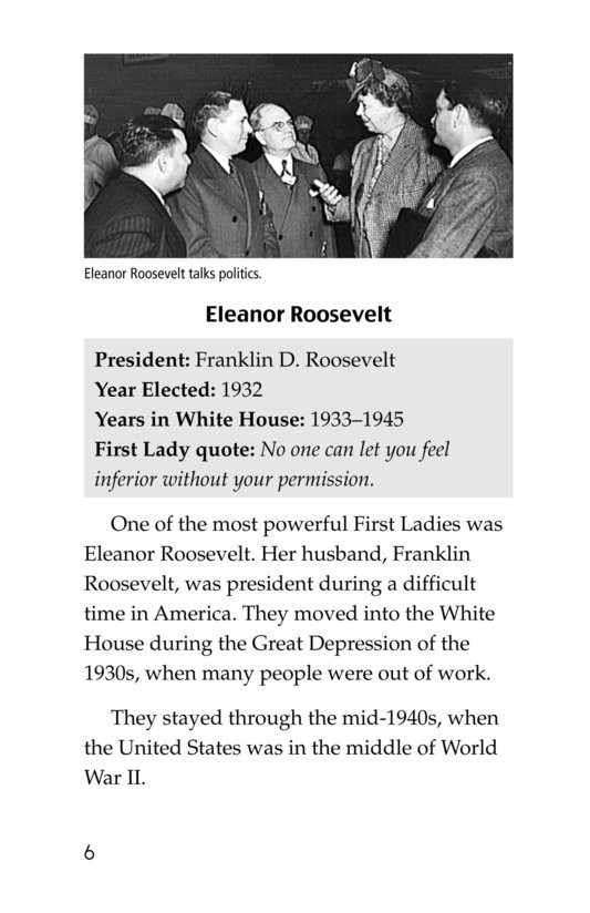 Book Preview For Famous First Ladies Page 6