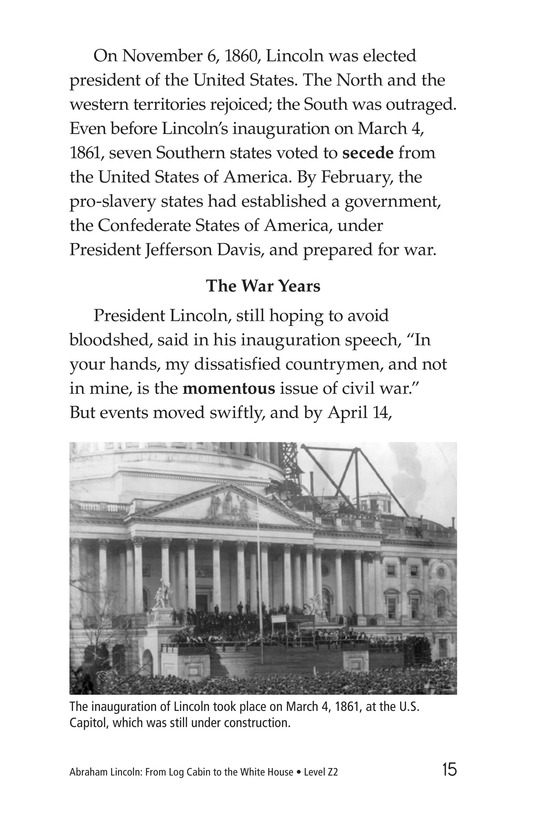 Book Preview For Abraham Lincoln: From Log Cabin to the White House Page 15
