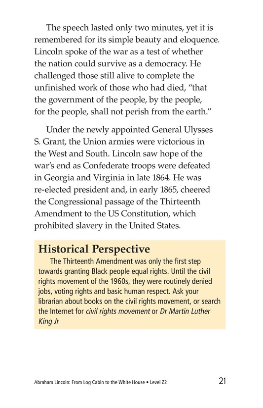 Book Preview For Abraham Lincoln: From Log Cabin to the White House Page 21