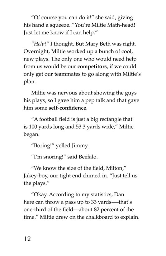 Book Preview For Miltie Math-head: Football Hero? Page 12