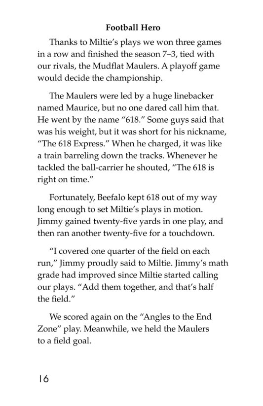 Book Preview For Miltie Math-head: Football Hero? Page 16