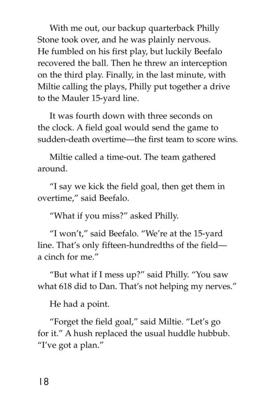 Book Preview For Miltie Math-head: Football Hero? Page 18
