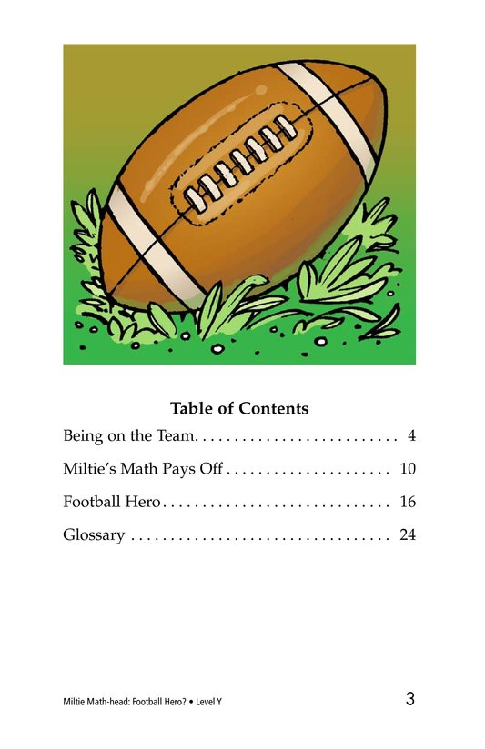 Book Preview For Miltie Math-head: Football Hero? Page 3