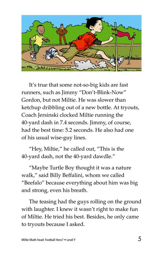 Book Preview For Miltie Math-head: Football Hero? Page 5