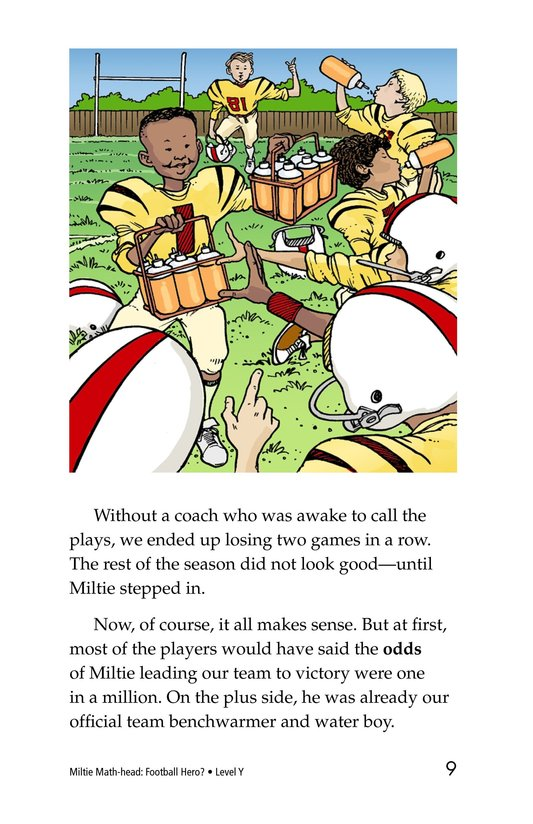 Book Preview For Miltie Math-head: Football Hero? Page 9