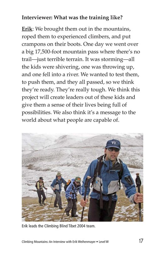 Book Preview For Climbing Mountains: An Interview with Erik Weihenmayer Page 17