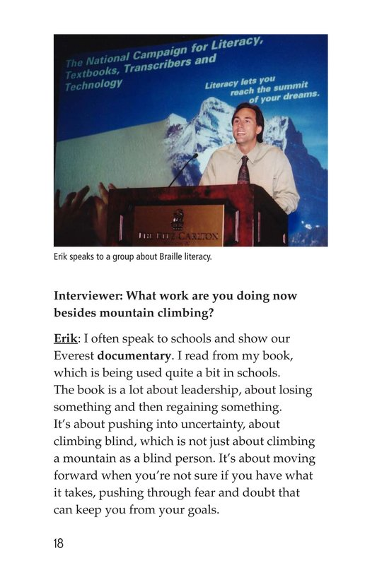 Book Preview For Climbing Mountains: An Interview with Erik Weihenmayer Page 18