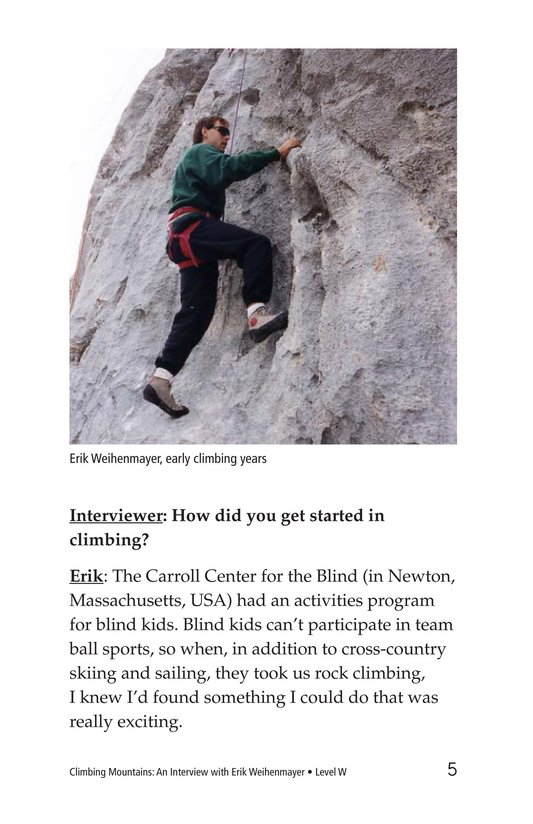 Book Preview For Climbing Mountains: An Interview with Erik Weihenmayer Page 5