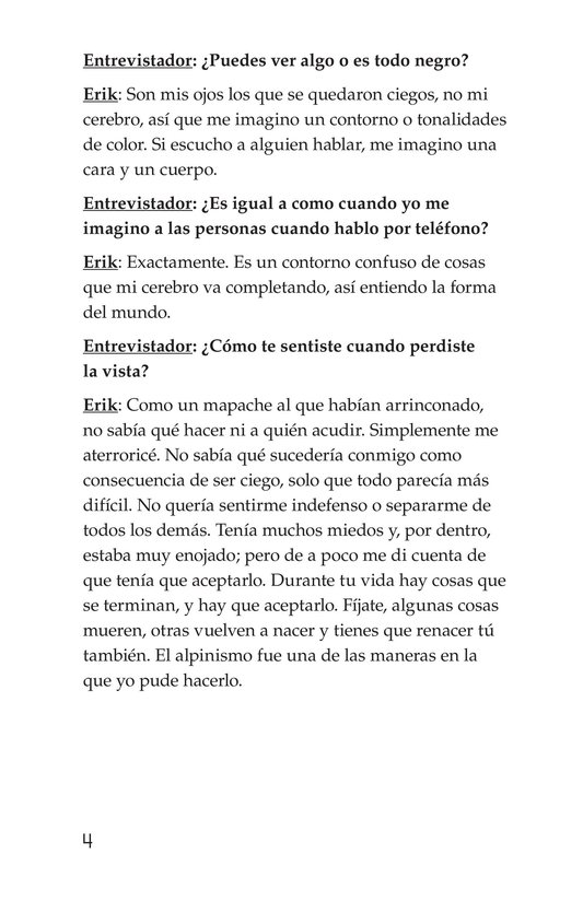 Book Preview For Climbing Mountains: An Interview with Erik Weihenmayer Page 4