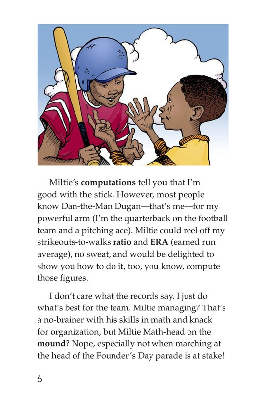 Book Preview For Miltie Math-head Takes the Mound Page 6