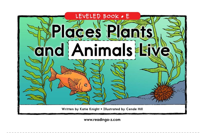 Book Preview For Places Plants and Animals Live Page 1